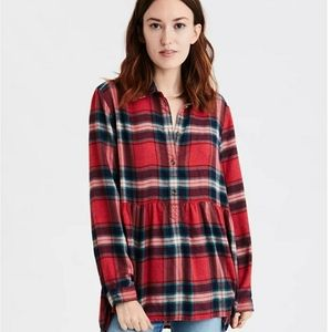 American Eagle Oversized Babydoll Flannel Top